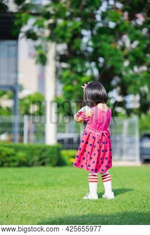 Vertical Imaged. Rear Back View Of  Asian Girl Standing On Green Laws. Child Holding Ball In Hands.