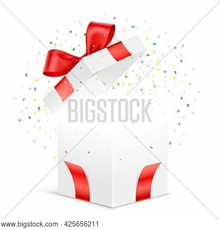 Open Gift Box With Exploded Colorful Confetti.