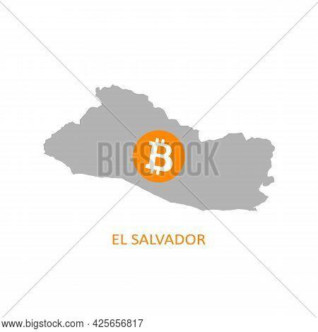 El Salvador Contour And Bitcoin Icon. Vector Illustration.