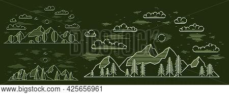 Mountain Peaks And Pine Forest Line Art Vector Illustration On Dark, Linear Illustration Of Mountain