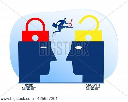 Businessman Holding Key With Jumping From Fixed Mindset Move To Growth Mindset Thinking Concept Vect