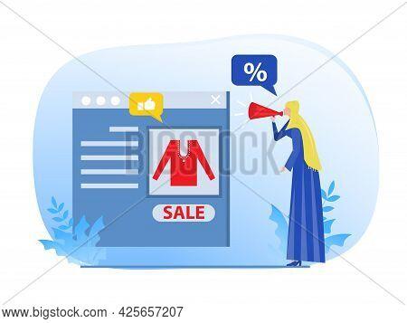 Muslim Woman Promotion Web Concept.digital Marketing Marketer Discounts Business Concept ,vector Ill