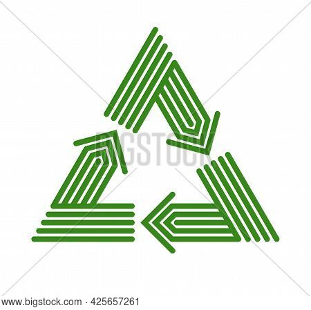 Recycle Vector Triangle Icon In Modern Geometric Linear Style Isolated On White, Contemporary Line S