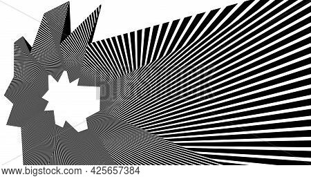 Abstract Vector 3d Lines Background, Black And White Linear Perspective Dimensional Optical Pattern.