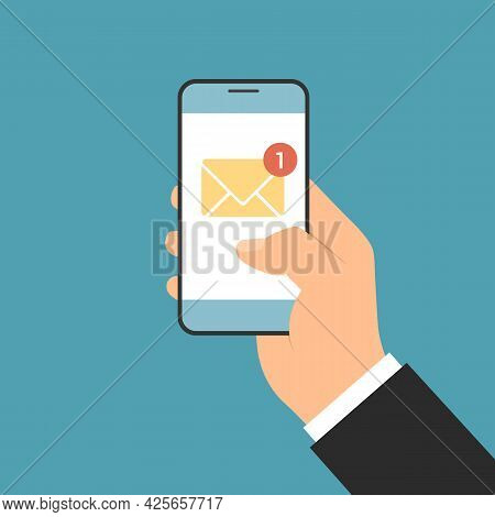 Flat Design Illustration Of A Manager's Hand Holding A Smartphone By Notifying An Incoming Email Or