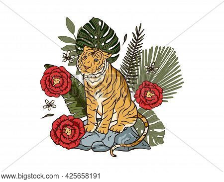 Jungle Cartoon Tropical Bengal Tiger Animal Printable Art. Palm Exotic Sitting Wildlife Cat Illustra