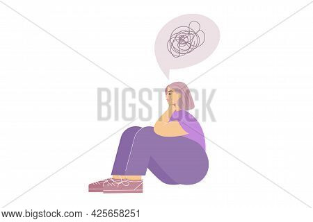 Sad Girl With An Anxiety Disorder Is Sitting And Crying, Cloud With Tangled Rope Is Above Her. A Str