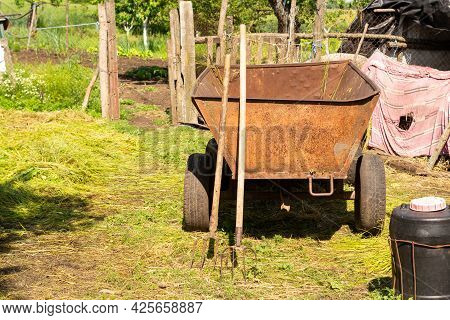 Two Pairs Of Hay Forks Near A Metal Cart In The Farm Yard. Farmer's And Breeder's Working Tool. In T