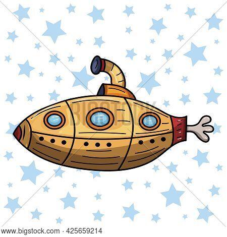 Doodle Yellow Submarine Undersea. Vector Clip Art Illustration.