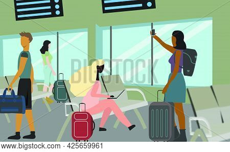 African Afro Woman Young Freelancer Traveler With Laptop Technology Sitting At The Airport Lobby Or