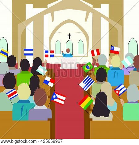 Vector Illustration Of People With Different Color And Flags Of America In The Church. National Hisp