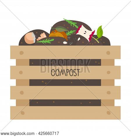 Compost Wooden Box With Fruits, Vegetable Scraps, Greens, Shells In Ground. No Food Waste. Environme