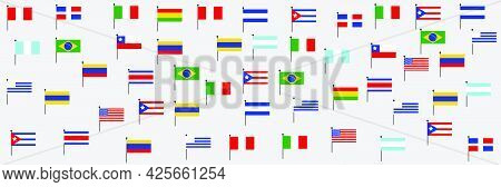 Different Color And Flags Of America. Cultural And Ethnic Diversity. National Hispanic Heritage Mont