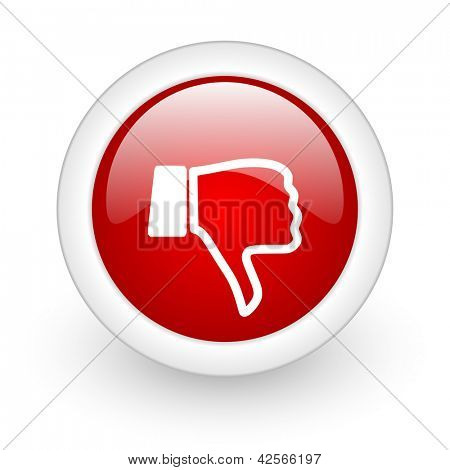 thumb down red circle glossy web icon on white background