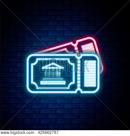 Glowing Neon Line Museum Ticket Icon Isolated On Brick Wall Background. History Museum Ticket Coupon