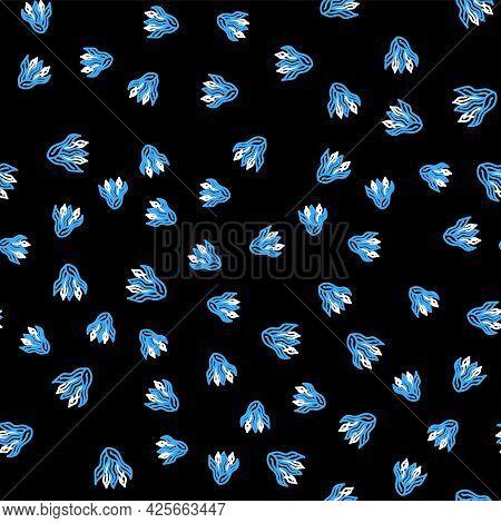 Line Seaweed Icon Isolated Seamless Pattern On Black Background. Underwater Seaweed Spirulina, Aquat