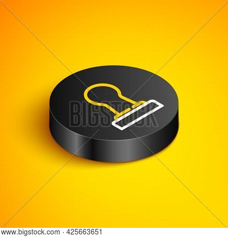 Isometric Line Coffee Tamper Icon Isolated On Yellow Background. Black Circle Button. Vector
