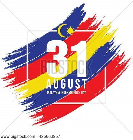 31 August - Malaysia Independence Day Vector With Brush Stroke In Malaysia Flag Colour