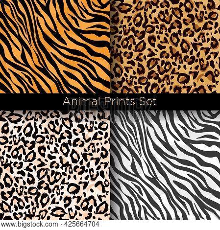 Vector Illustration Set Of Four Different Seamless Animal Patterns. Safari Textile Concept. Tiger, Z