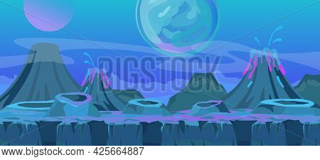 Vector Illustration Of Beautiful Alien Fantastic Landscape. Cool Another World Background For Game D