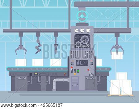 Vector Illustration Of Conveyor In Manufacturing Warehouse. Factory Industrial Concept. Conveyor Pro