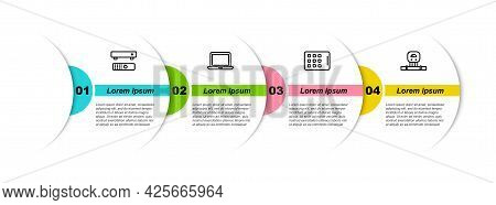 Set Line Multimedia And Tv Box, Laptop, Graphic Tablet And Smart Sensor. Business Infographic Templa
