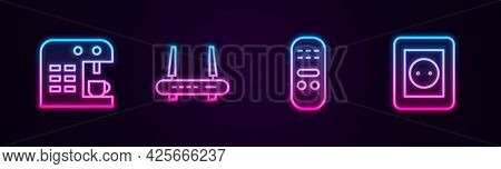 Set Line Coffee Machine, Router And Wi-fi Signal, Remote Control And Electrical Outlet. Glowing Neon