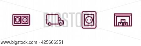 Set Line Electrical Outlet, , Delivery Cargo Truck And Warehouse Icon. Vector
