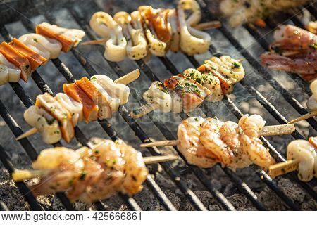 Fish Skewers On The Grill 2