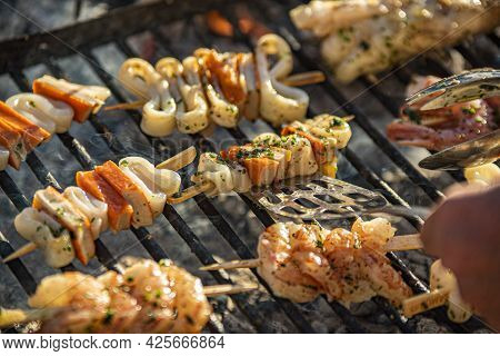 Fish Skewers On The Grill 3