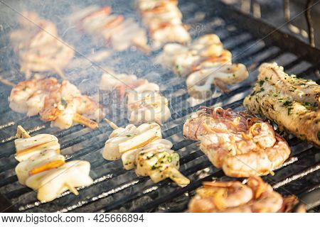 Fish Skewers On The Grill 6