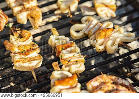 Fish Skewers On The Grill 7