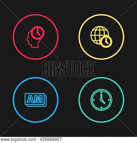 Set Line Clock Am, , World Time And Time Management Icon. Vector