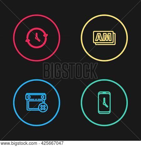 Set Line Calendar Date Delete, Alarm Clock App Mobile, Clock Am And Icon. Vector