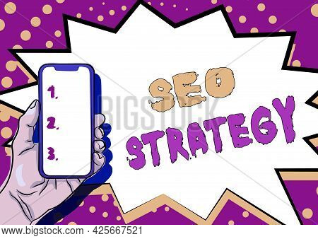 Text Caption Presenting Seo Strategy. Business Overview Techniques And Tactics To Increase The Visit