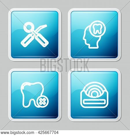 Set Line Dental Inspection Mirror, Human Head With Tooth, Tooth Caries And Floss Icon. Vector