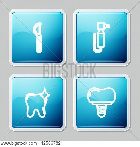 Set Line Dental Floss, Tooth Drill, Whitening And Implant Icon. Vector