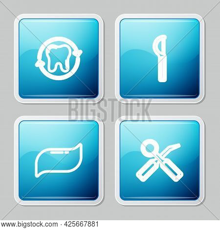 Set Line Tooth Whitening, Dental Floss, Toothpaste And Inspection Mirror Icon. Vector