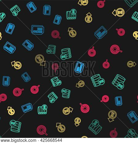Set Line Micro Sim Card, Server 5g Network, And Antenna On Seamless Pattern. Vector