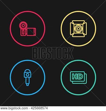 Set Line Microphone, Hd Movie, Tape, Frame, Movie Spotlight And Cinema Camera Icon. Vector