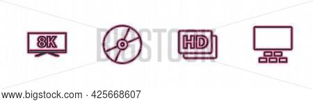 Set Line Screen Tv With 8k, Hd Movie, Tape, Frame, Cd Or Dvd Disk And Cinema Auditorium Seats Icon.