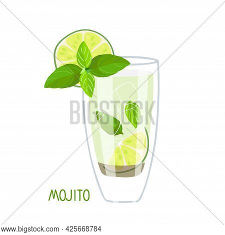 Mojito. Mixed Drink. Bright Cocktail In Glass. Classic Mojito Cocktail. Exotic Tropical Beach Bar. F