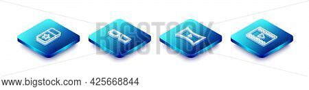 Set Isometric Line Cinema Ticket, 3d Cinema Glasses, Online Play Video And Play Video Icon. Vector