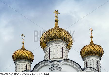 Domes Of Trinity Cathedral In Ipatiev Monastery In Kostroma, Russia