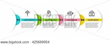 Set Line Kite, Indian Symbol Hand, Chicken Tikka Masala And . Business Infographic Template. Vector
