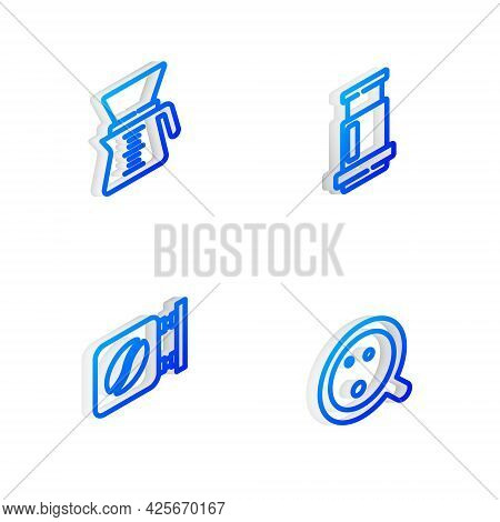 Set Isometric Line Aeropress Coffee, Pour Over Maker, Street Signboard And Coffee Cup Icon. Vector