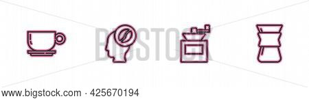 Set Line Coffee Cup, Manual Coffee Grinder, Barista And Pour Over Maker Icon. Vector