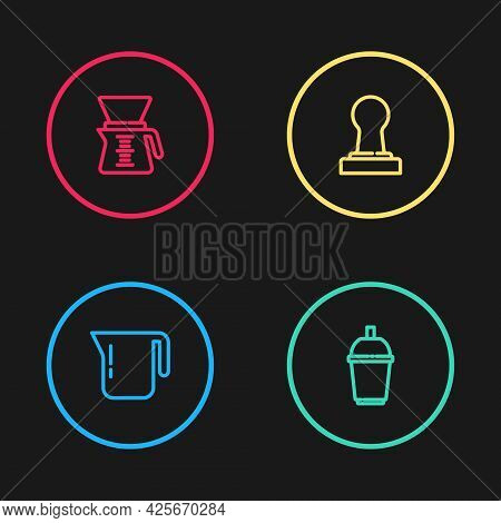 Set Line Coffee Pot, Cup To Go, Tamper And Pour Over Coffee Maker Icon. Vector