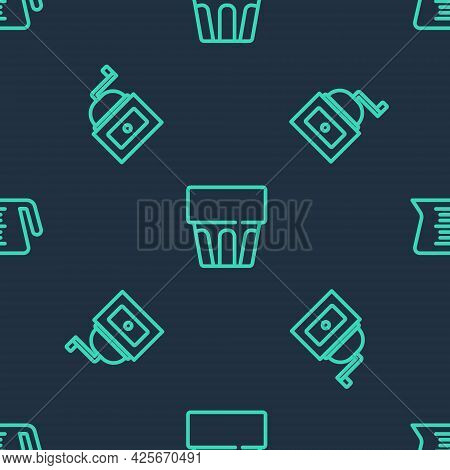 Set Line Glass With Water, Manual Coffee Grinder And Coffee Pot On Seamless Pattern. Vector