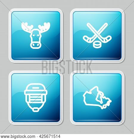 Set Line Moose Head With Horns, Ice Hockey Sticks And Puck, Hockey Helmet And Canada Map Icon. Vecto